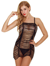 Women Chemise White Ruched Semi Sheer Jumper Skirt With Brief 2 Piece Lingerie Set