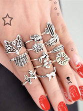 Women Knuckle Ring Animal Leaf Embossed Silver 12 Piece Ethnic Ring Set