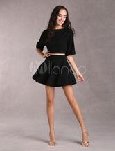 Black Short Mini Dress Women's Expansion Dress