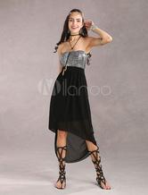 Silver Leopard Strapless Women's Elastic High-Low Dress