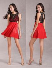 Elastico vestito rosso di pizzo per donna con cutout vita