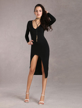 Black Bodycon Dress V-neck Long Sleeves Sexy High Slit Elastic Sheath Dress