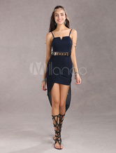 Navy Women's Sexy Short Dress With Asymmetrical Chiffon Train (With Belt)