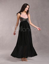Maxi Evening Dress Black Beading Chiffon Women's Long Cocktail Dress