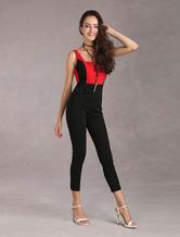 Elastico tute di donne senza schienale In contrasto nero e rosso