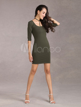 Choker Bodycon Dress Hunt Green Women's Half Sleeves Cotton Sheath Sexy Dress(Made In Italy)