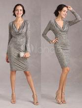 Sexy Bodycon Dress Cowl Neckline Women's Glitter High Waistline Long Sleeves Party Dress