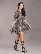 Leopard Women's Chiffon Long Shirt Dress With Belt
