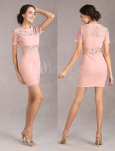 Pink Bodycon Dress Cut Out Women's Short Party Dress