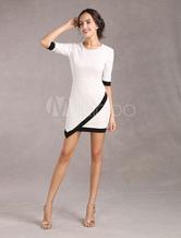 White Bodycon Dress Asymmetric Bottom Half Sleeves Elastic Party Dress(Made In Italy)