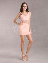 Rose Mini jupe femme élastique