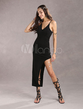 Black Elastic Women's Sexy Dress With asymmetrical Split Bottom