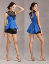 Royal Blue Women's Elastic Top With Cut Out Lace Back Out