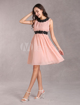 Pink Women's Party Dress Short Chiffon Dress With Lace Applique