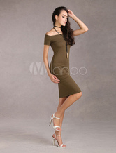 Women's Bodycon Dress Off The Shoulder Hunt Green Short Sleeves Sexy Elastic Sheath Dress