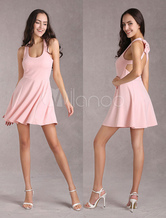 Pink Halter Women's Elastic Dress With Backless Bow design