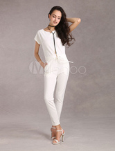 White Jumpsuit Women's Elastic Short Sleeves Romper