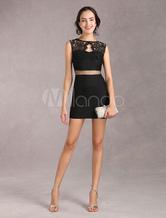 Bodycon vestito di pizzo donne nero Party Dress con vita di prospettiva