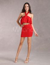 Elastic Women's Red Mini Skirt