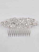 Pele de casamento Peças de prata Headpieces Rhinestones Beaded Acessórios de cabelo nupcial