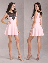Pink Spandex Women's Short Dress With Lace Cut Out Back