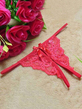 Сексуальное нижнее белье Red Lace Thong Crotchless Panties