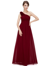 03422d3f76 8 Reviews · Long Bridesmaid Dress Chiffon Champagne One Shoulder Flower A  Line Draping Wedding Party Dress