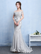 Lace Evening Dress Silver Mermaid Party Dress Off The Shoulder Applique Beading Short Sleeve Bow Sash Occasion Dress With Train wedding guest dress