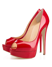 Women's Peep Toe Pumps Platform High Heels Patent Leather Sexy Party Shoes