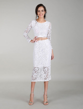 Weiße Cocktailkleider Lace Kleid Sets Long Sleeves Ernte Top Bodycon Abendkleid