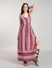 Abiti Rossi Boho Maxi Floral Bohemian Dress Vestito estivo a fessure laterali