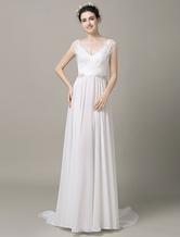 Группа поезд Бохо пляж свадебное платье иллюзия кружева аппликация бисером Сплит шифон-Line вечернее платье</p> Milanoo