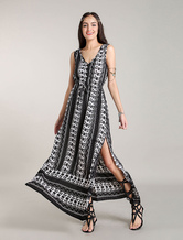 Abiti Maxi Boho Navy Stampa floreale Bohemian Dress Fronte fodge abiti estivi