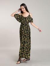 Böhmische Boho kleid Maxi Kleider Amazon Blumen gedruckt Sommerkleid aus Schulter Boho lange Kleider