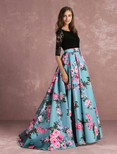 Floral Prom Dress Lace Backless Printed Pageant Illusion 3/4 Sleeve Pleated A Line Party Dress With Chapel Train