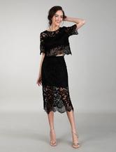 Two Piece Cocktail Dresses Black Lace Dress Bodycon Evening Dress