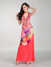 Maxi Floral Dresses African Printed Dress Waist Cut Out Party Dress