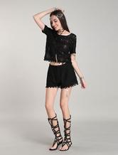 I vestiti di estate della Boemia del merletto nero delle parti di usura di due pezzi con le nappe