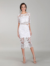 White Cocktail Dress Two Piece Outfits Lace Dresses Bodycon Evening Dress