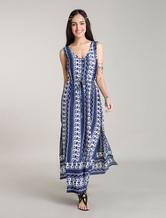 Abiti Maxi Bohemian abiti floreali blu Boho vestiti estivi fessure laterali