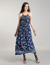 Maxi Boho Dress Sleeveless Halter Summer Dress Blue 100% Cotton Printed Bohemian Dresses