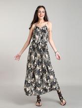 Boho Maxi Dresses Floral Bohemian Dress Straps Beach Summer Dress