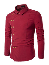 Red Men Shirt Double Breasted Irregular Long Sleeve Shirt Casual