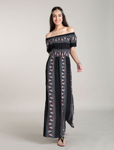 Maxi Boho Dresses Off Shoulder Bohemian Floral Printed Maxi Dress Side Slits Summer Dress