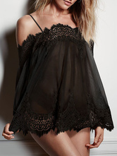 Chiffon Cover Ups Lace Patchwork Spaghetti Strap 3/4 Length Sleeve Pleated Scalloped Hem Beach Wear