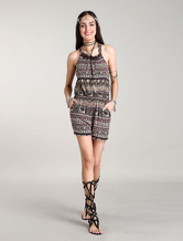 Boho Rompers Women's Short Bohemian Printed Jumpsuits With Coconut