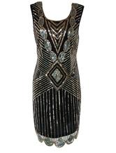Vestito da flapper 2019 costume vintage degli anni' 20 costume da donna Great Gatsby vestito nero con sequin da donna per Halloween
