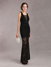 Black Maxi Lace Dress Perspective Women's Mermaid Party Dress