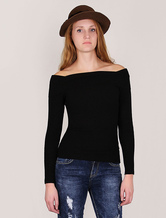 Women Black Sweater Off The Shoulder Top Long Sleeve Elastic Pullover Sweater