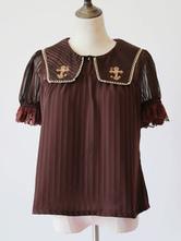 Sweet Lolita Blouse Infanta Dark Brown Cross Embroidered Chiffon Lolita Top